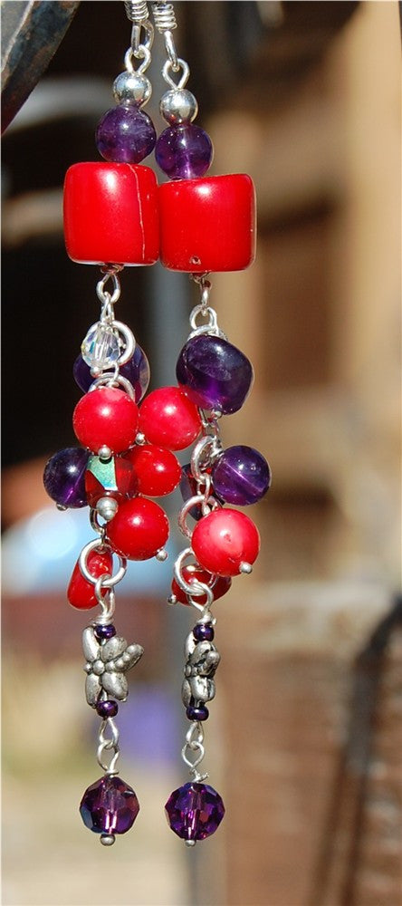 Red Coral and Amethyst earrings