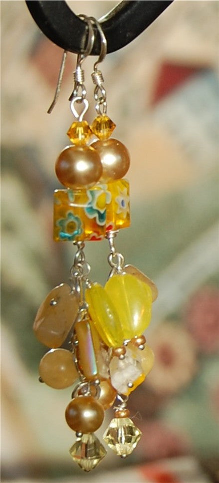 Yellow Glass and Pearl earrings