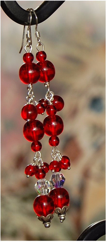 Red Glass and crystal earrings