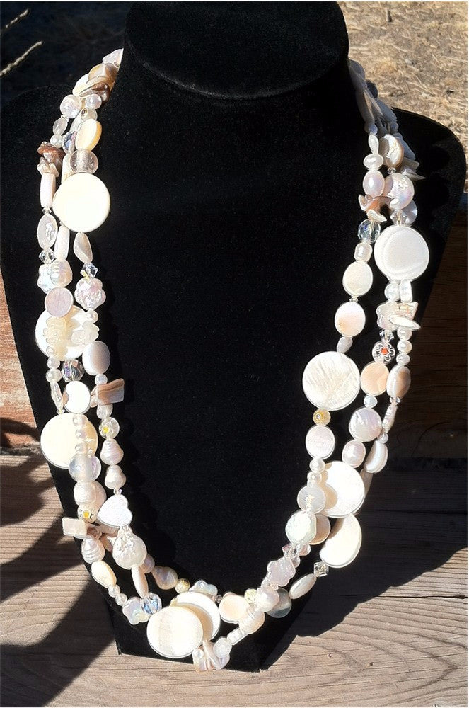 Three Strand White necklace