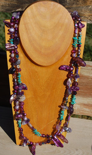 Purple Baroque Pearl and Turquoise necklace