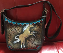 "Hand Painted Black Coach ""Palomino Wildcat"""