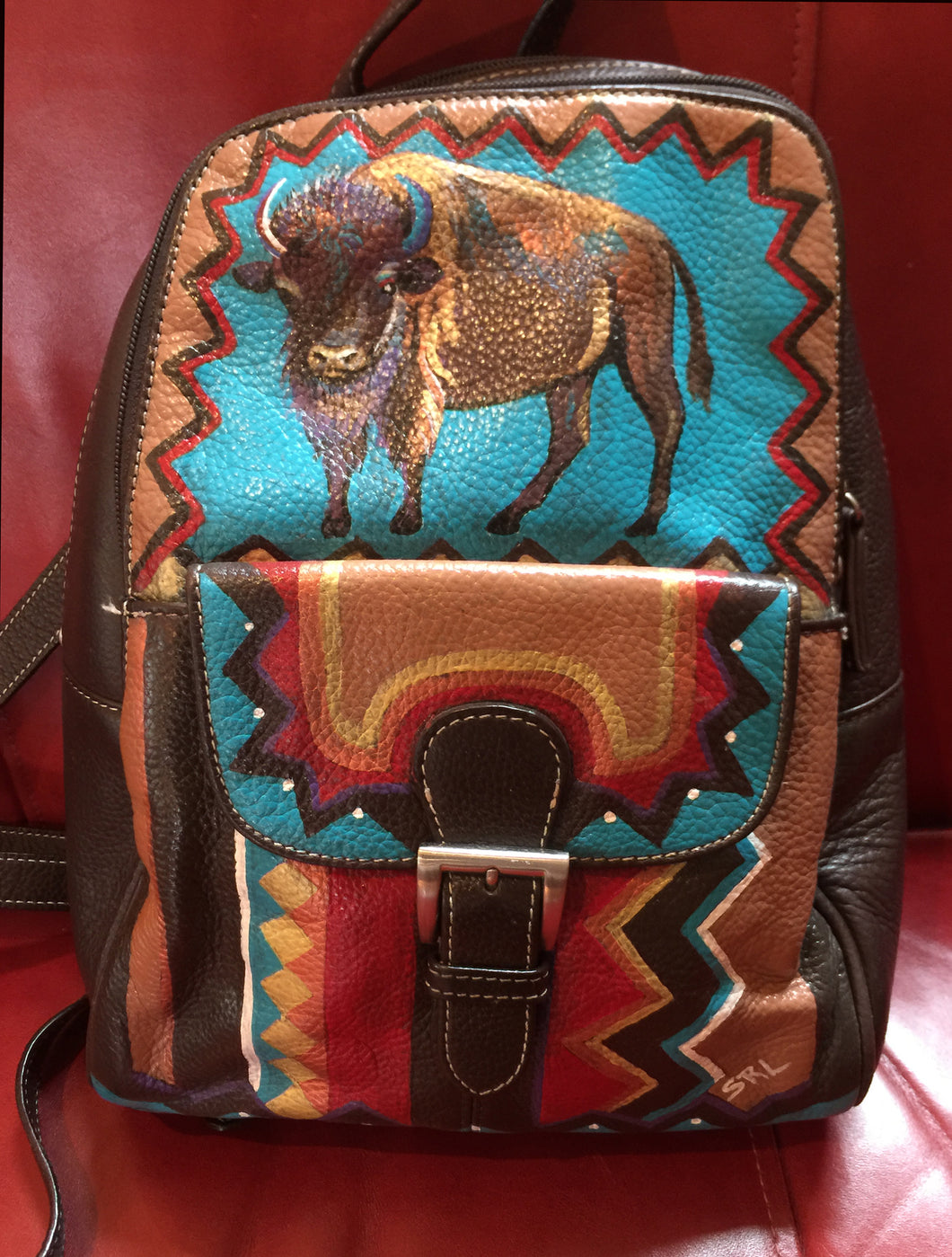 Hand Painted Tignanello Backpack with Bison