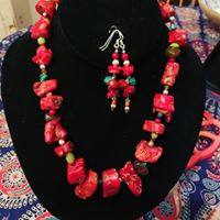 Red Salsa Necklace and Earrings