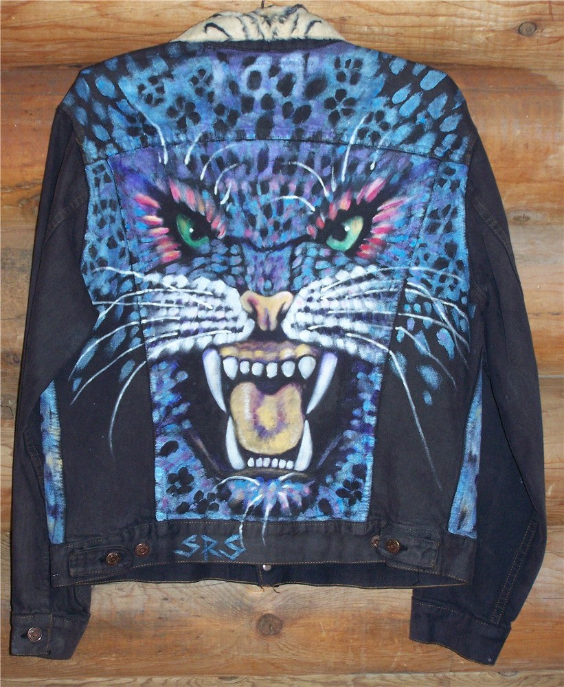 Blue Cat Painted Denim Jacket