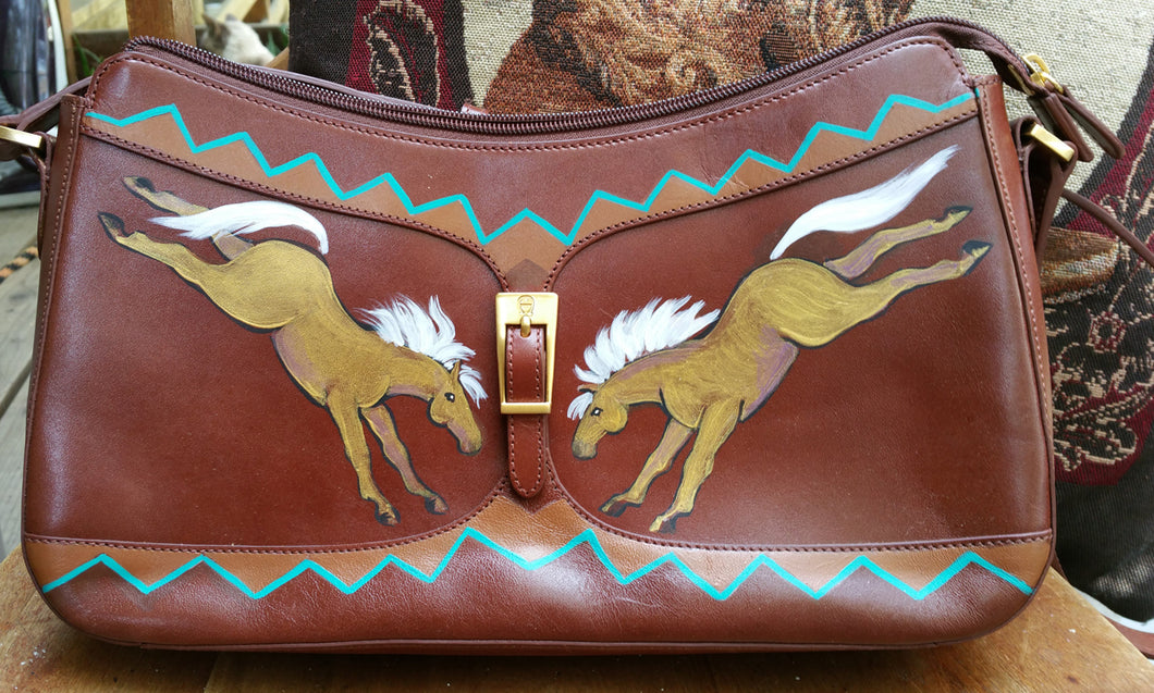 Hand Painted Brown Purse with Palominos