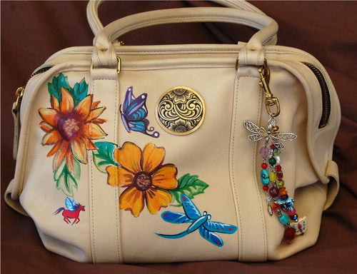 Hand Painted Coach Purse with Butterflies