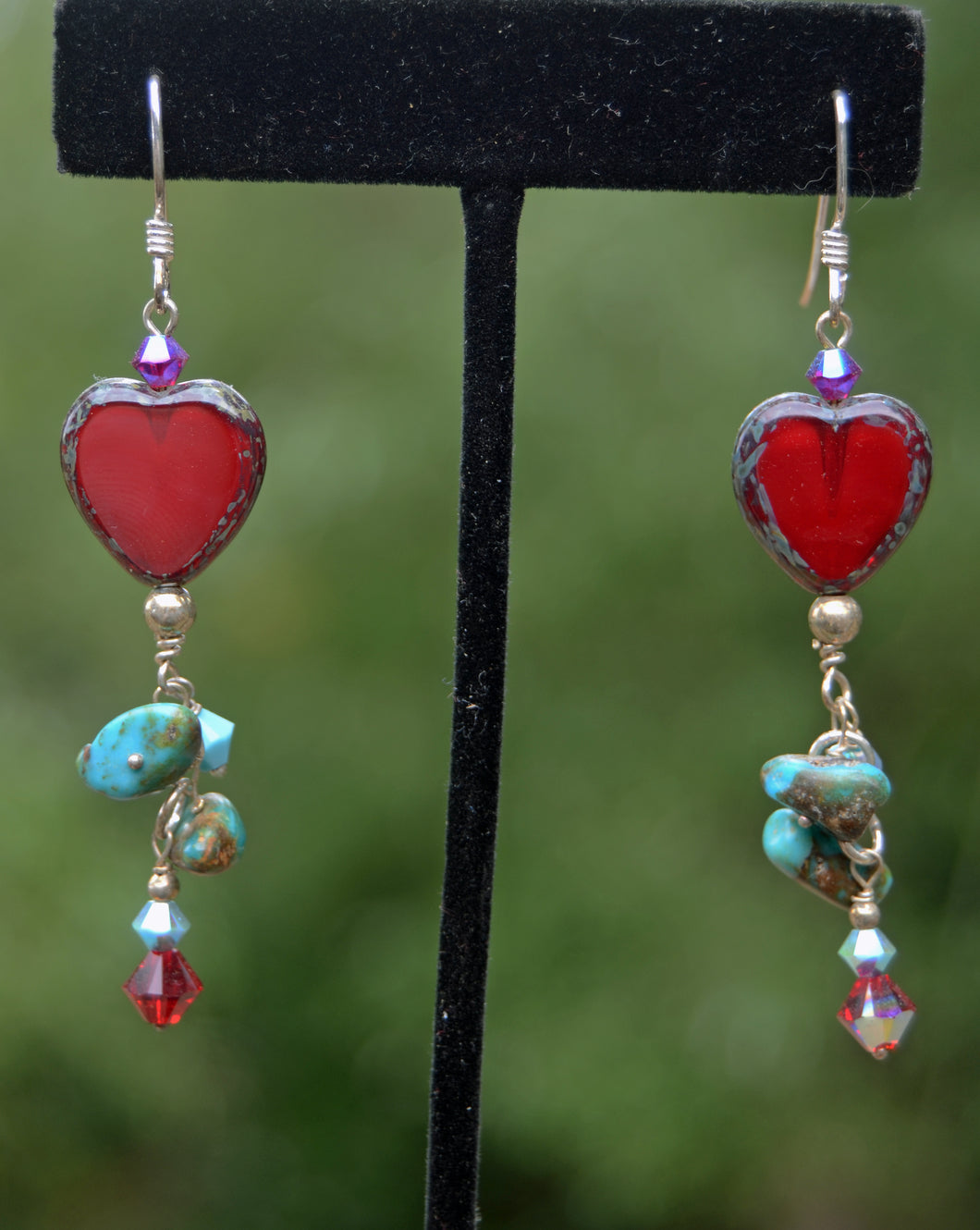 Red Heart and Turquoise Earrings