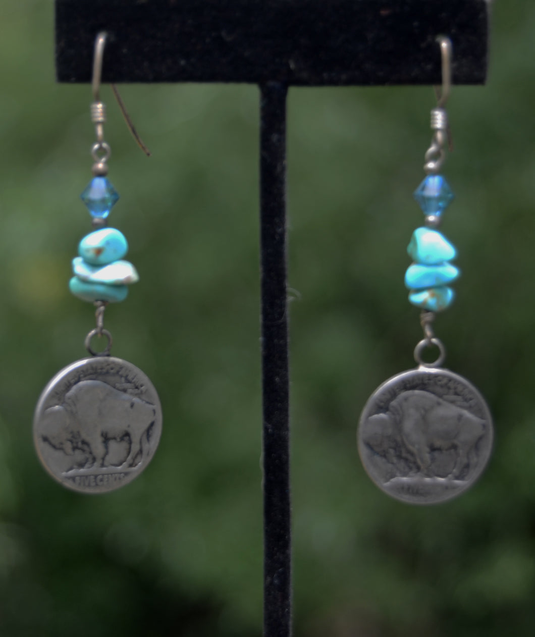 Turquoise and Buffalo Nickel earrings