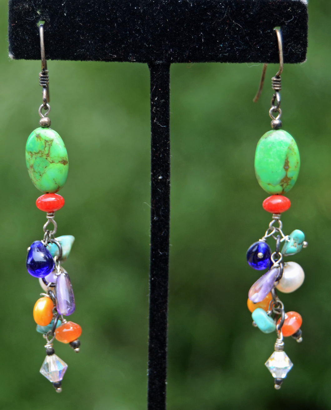 Bright Green and Multi Colored Bead earrings