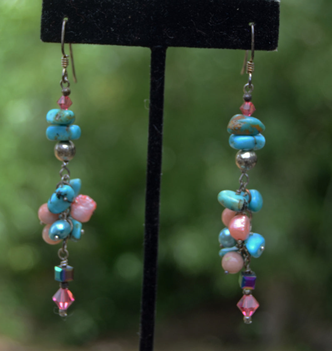 Turquoise and Pink earrings