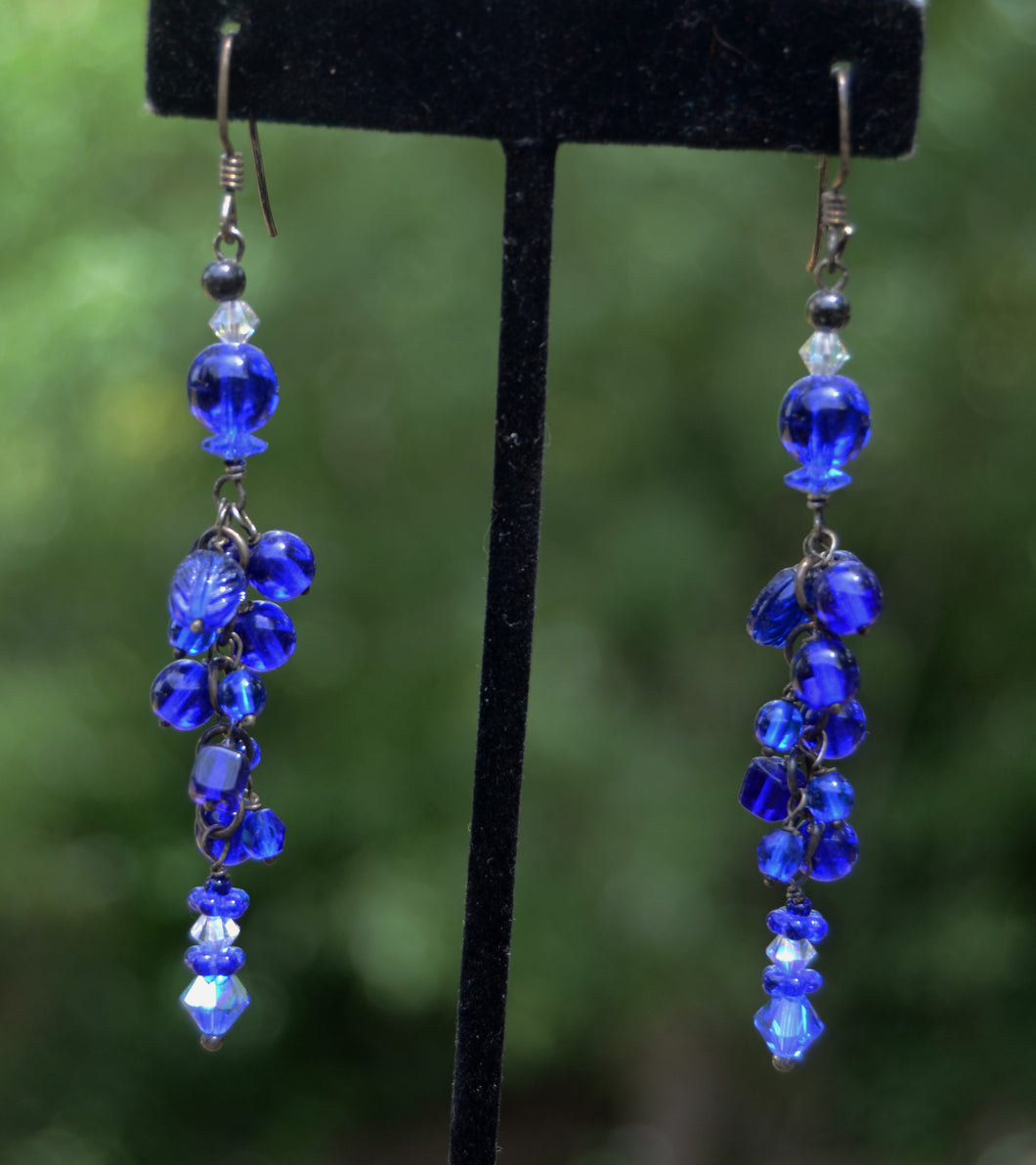 sterling blue glass castillo earrings mexican shop los search santa and silver