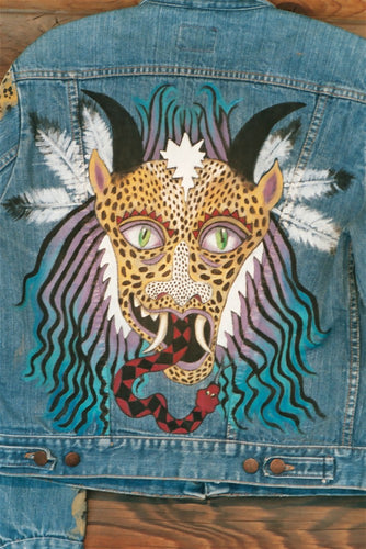 Leopard Mask Hand Painted Wrangler jacket
