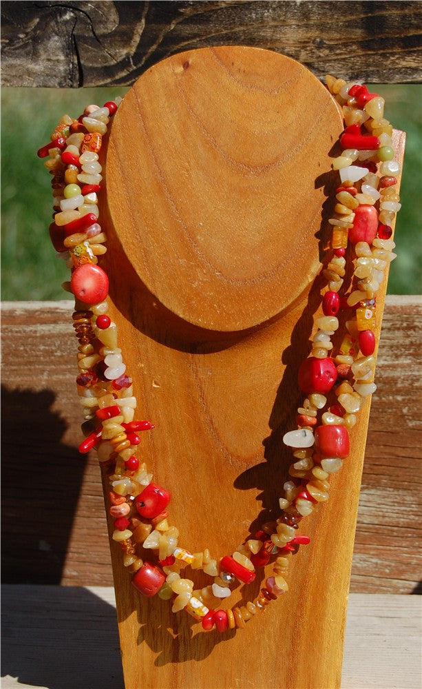 Golden Quartz and Red Coral Necklace