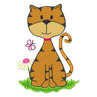 Spring cat machine embroidery design by embroiderytree.com