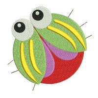 Cute bug machine embroidery design by rosiedayembroidery.com