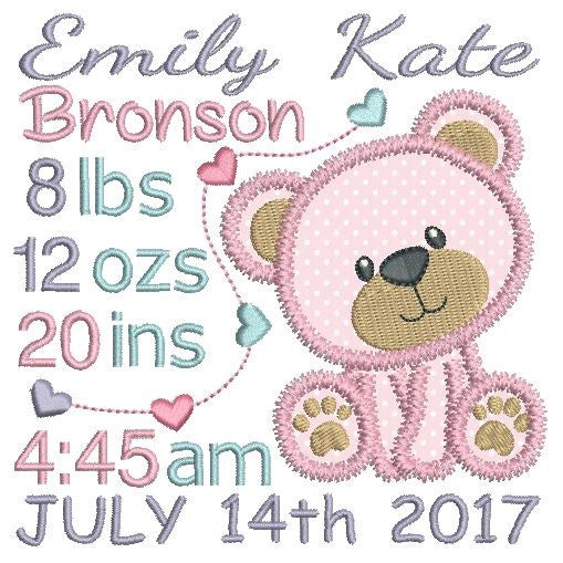 Baby Birth Announcement Template Embroidery  Rosieday Embroidery
