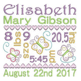 Baby Birth Announcement -Customised Machine Embroidery Design by rosiedayembroidery.com