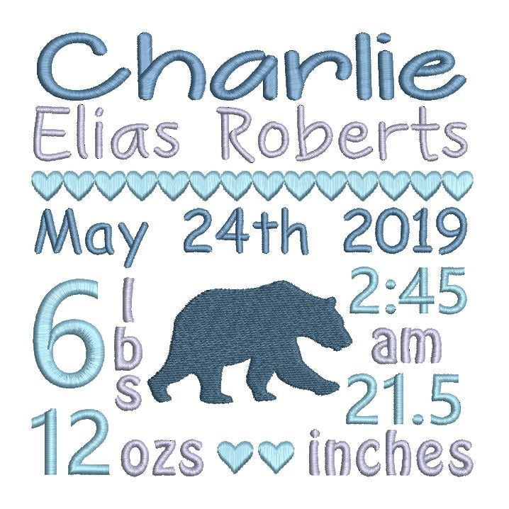Baby birth announcement template by rosiedayembroidery.com