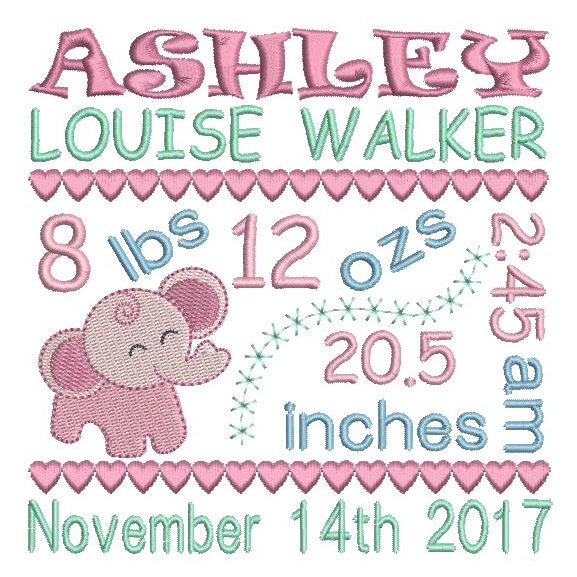 Baby Announcement Template Embroidery Design | Rosieday Embroidery ...