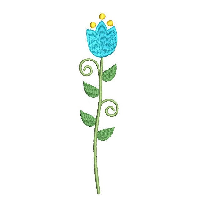 Long stem flower - tulip machine embroidery design by rosiedayembroidery.com