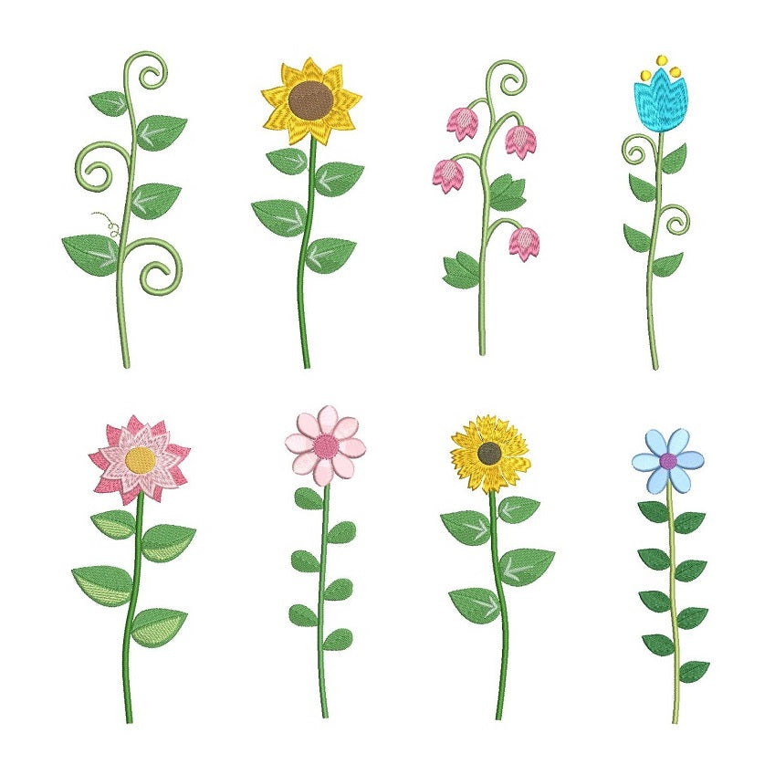 Long stem flower machine embroidery designs by rosiedayembroidery.com