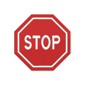 Stop sign machine embroidery design by rosiedayembroidery.com