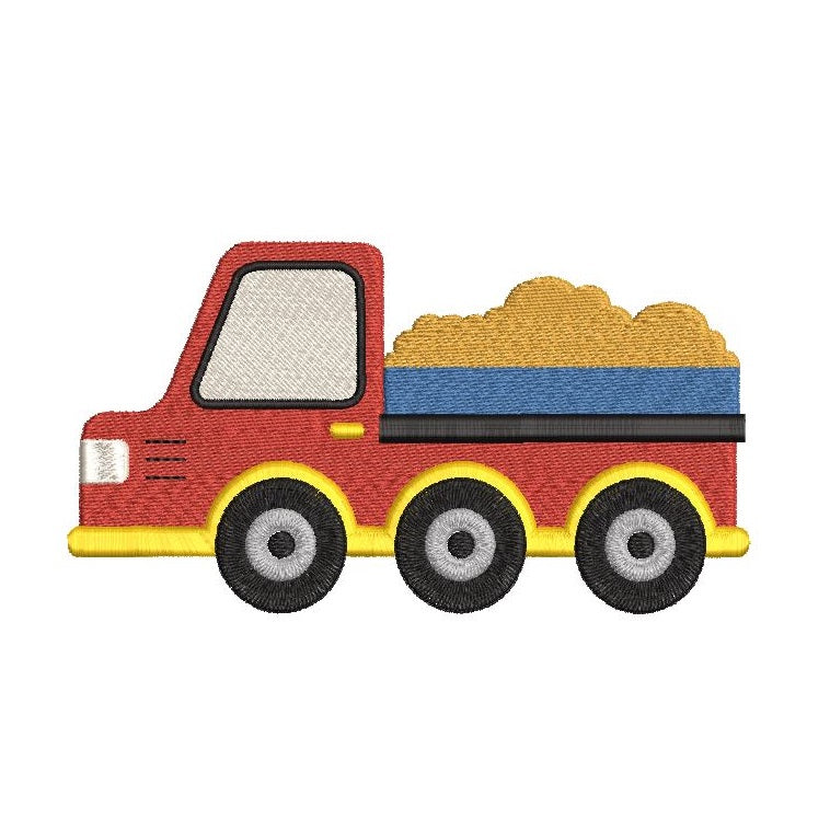 Dump truck machine embroidery design by rosiedayembroidery.com
