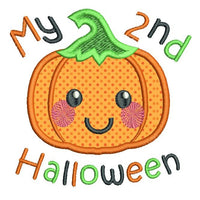 My 2nd Halloween pumpkin applique machine embroidery design by rosiedayembroidery.com