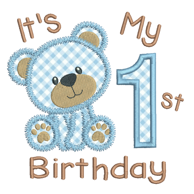My 1st birthday teddy applique machine embroidery design by rosiedayembroidery.com