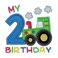 2nd birthday tractor applique machine embroidery design by rosiedayembroidery.com
