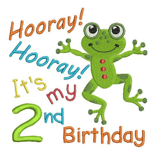 2nd birthday frog machine embroidery design by rosiedayembroidery.com