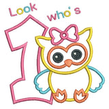 1st birthday number with a cute little owl applique machine embroidery design by rosiedayembroidery.com