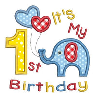 1st birthday applique number with elephant machine embroidery design by rosiedayembroidery.com