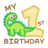 1st birthday dinosaur applique machine embroidery design by rosiedayembroidery.com