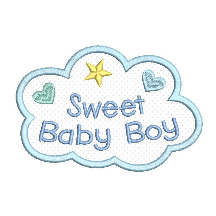 Sweet baby boy applique machine embroidery design by rosiedayembroidery.com