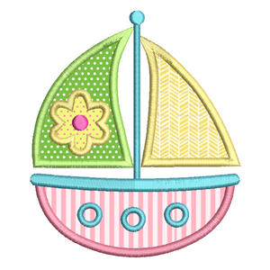 Sailing boat applique embroidery design by rosiedayembroidery.com