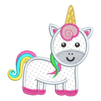 Cute unicorn applique machine embroidery design by rosiedayembroidery.com