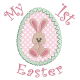 Easter bunny in egg applique machine embroidery design by rosiedayembroidery.com