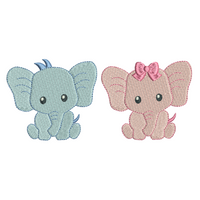Baby elephant mini fill stitch machine embroidery design set by rosiedayembroidery.com
