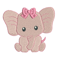 Baby girl elephant fill stitch machine embroidery design by rosiedayembroidery.com
