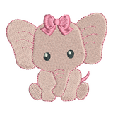 Baby elephant mini fill stitch machine embroidery design by rosiedayembroidery.com