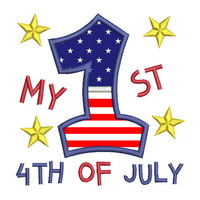'My 1st 4th July' applique machine embroidery design by rosiedayembroidery.com