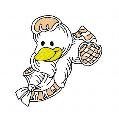 Cute duck machine embroidery design by embroiderytree.com