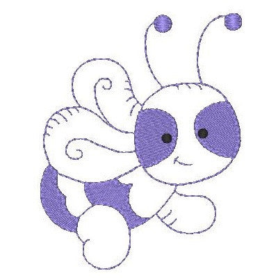 Little purple bee machine embroidery design by embroiderytree.com