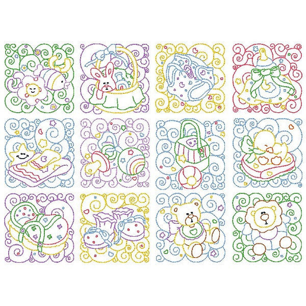 Baby quilt blocks linework machine embroidery designs by rosiedayembroidery.com
