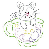 Kitten in a cup machine embroidery design by embroiderytree.com