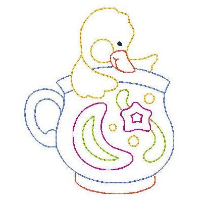 Duckling in a cup machine embroidery design by embroiderytree.com