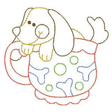 Puppy in a cup machine embroidery design by embroiderytree.com