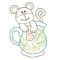 Mouse in a cup machine embroidery design by embroiderytree.com